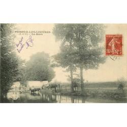 95 PUISEUX-LES-LOUVRES EN FRANCE. Fermiers et Vaches à la Mare vers 1909