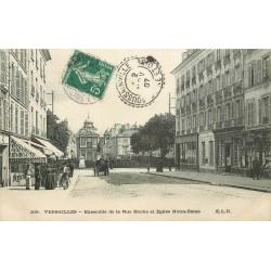 2 x cpa 78 VERSAILLES. Eglise Notre-Dame rue Hoche et la Gare avec Hôtel de Ville 1907