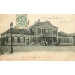 60 CREPY-EN-VALOIS. Attelage de livraisons devant la Gare 1905