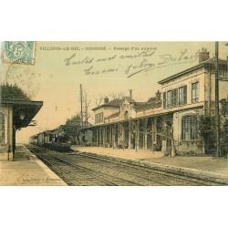 95 VILLIERS-LE-BEL GONESSE. Passage d'un Train express en Gare superbe carte toilée colorisée 1907