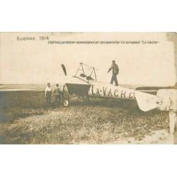 """GUERRE 1914 Photo Cpa aviateur Védrines en reconnaissance sur son avion """" La Vache """""""