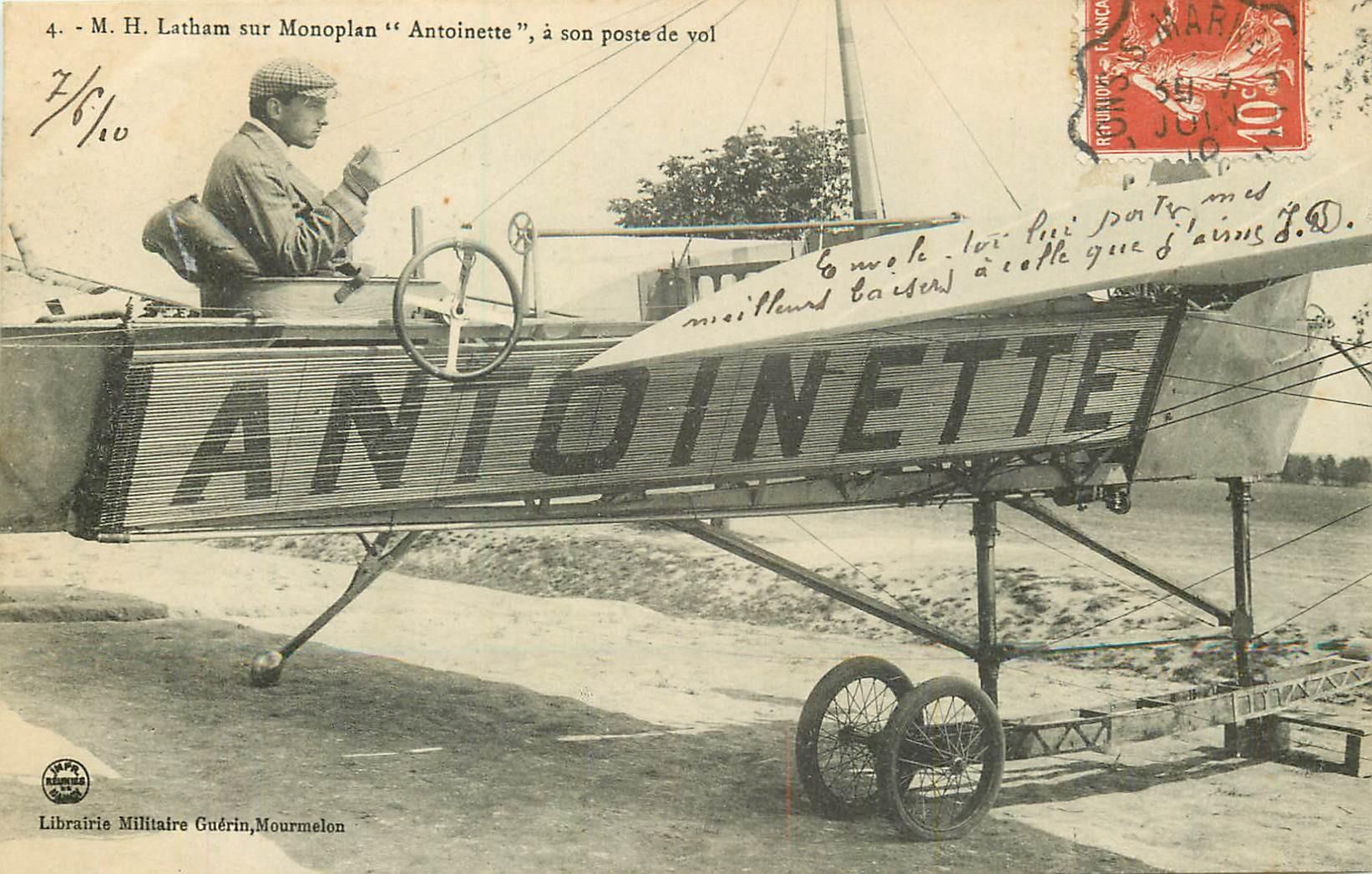 """Aviateur Latham sur Monoplan """" ANTOINETTE """" 1910"""