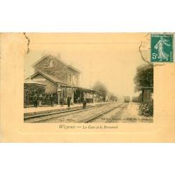 62 WIZERNES. La Gare et le Personnel vers 1910... Edition Sanson Café de la Gare