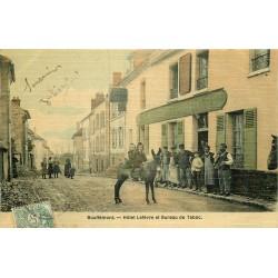 95 BOUFFEMONT. Hôtel Lefèvre et Bureau de Tabac superbe carte toilée colorisée vers 1907