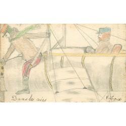 """Véritable dessin format carte postale """" Aviateurs et Aéroplane """" par Laquit Henri 1915"""