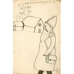 """Véritable dessin format carte postale """" Le Père Noël en Poilu jusqu'à la Tranchée """" par Laquit Henri 1914"""