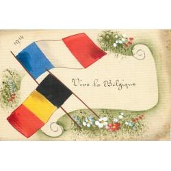 """Guerre 1914 drapeau peint à la main """" VIVE LA BELGIQUE """" sur carte toilée"""