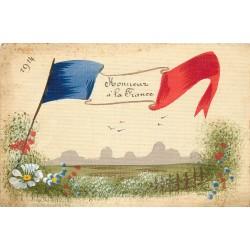 """Guerre 1914 drapeau peint à la main """" HONNEUR A LA FRANCE """" sur carte toilée"""