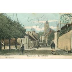 2 x Cpa 95 GOUSSAINVILLE. La rue Brûlée colorisée et noir-blanc 1906