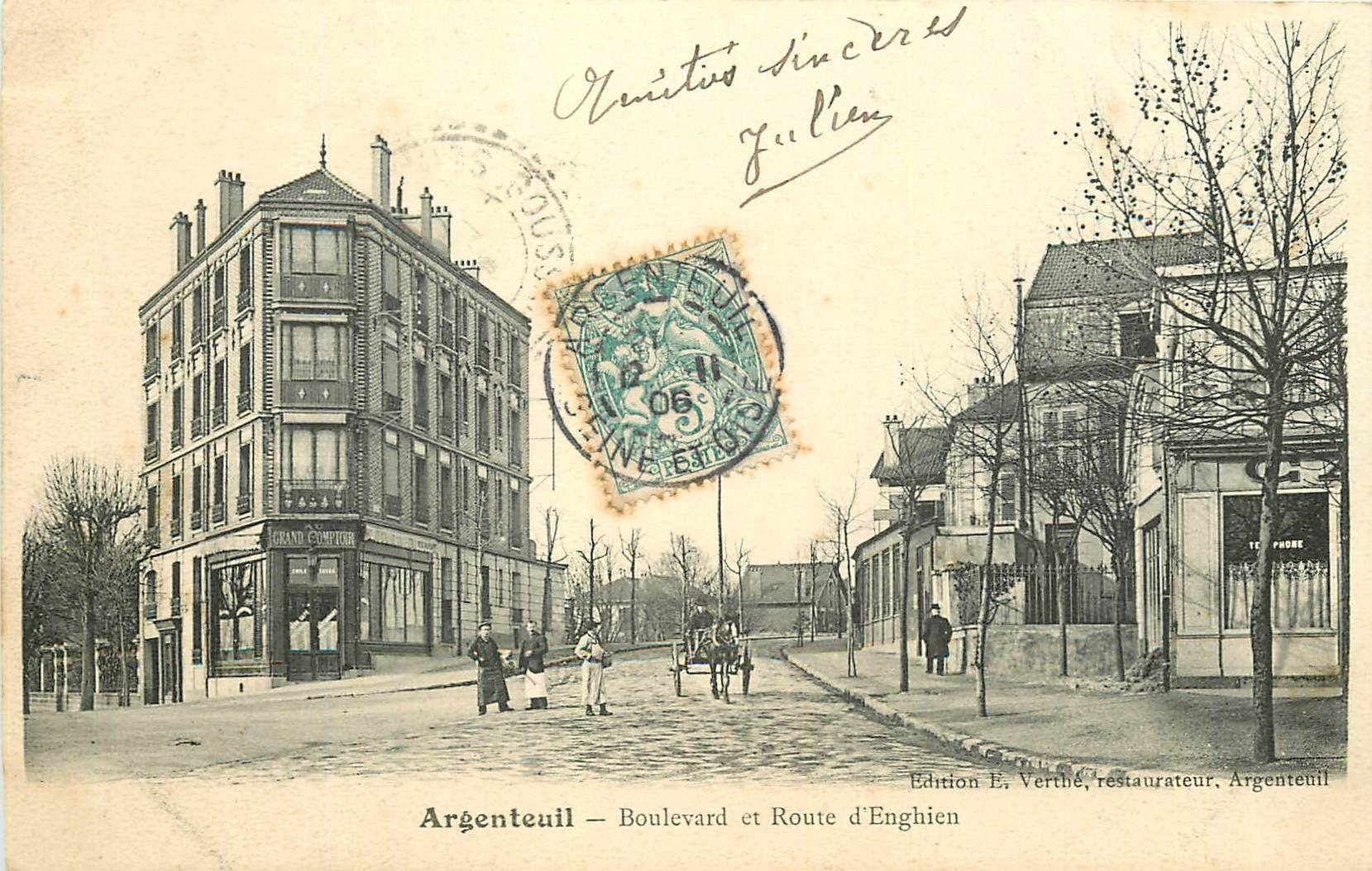 95 ARGENTEUIL. Café Grand Comptoir boulevard et route d'Enghien 1906