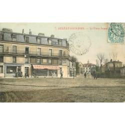 93 AULNAY-SOUS-BOIS. Place Jeanne d'Arc 1906 Ebeniste Tapissier et Graineterie