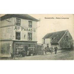 95 GOUSSAINVILLE. Maison Lempereur attelage devant le Tabac Epicerie Au Paradis avec joueurs de billard à l'étage 1917