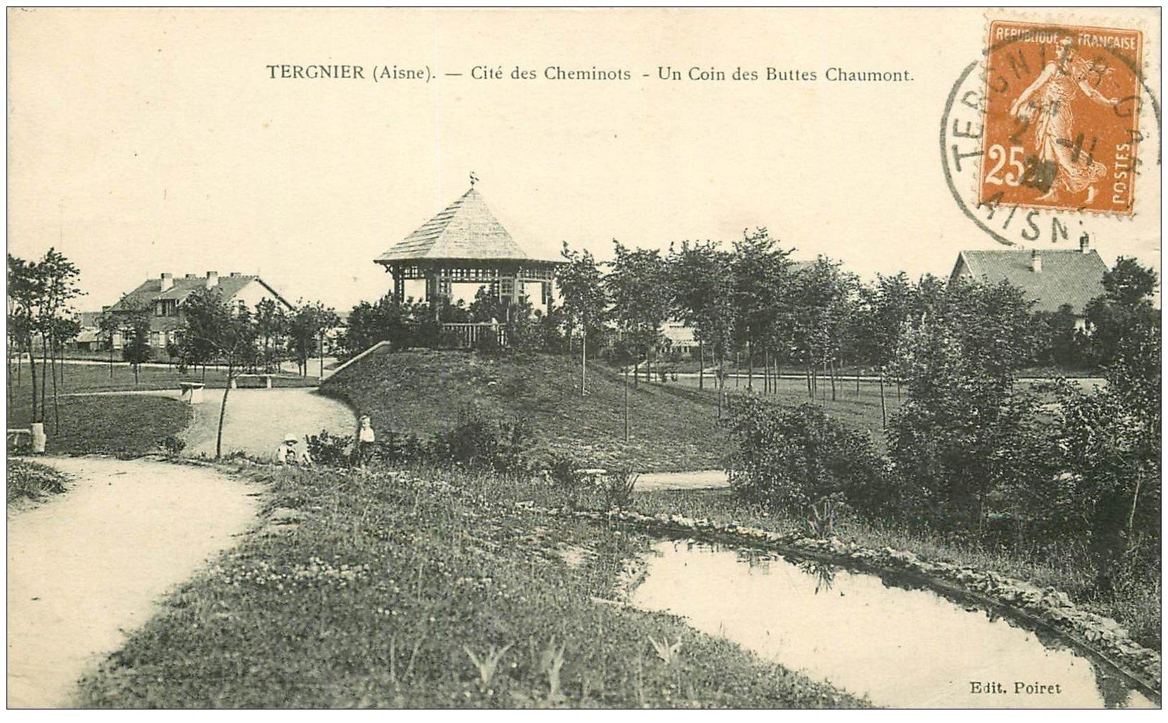 carte postale ancienne 02 TERGNIER. Buttes Chaumont Cité des Cheminots 1928