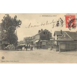 51 MOURMELON-LE-PETIT. Attelages devant le Café du Midi 1910 et passage à niveau