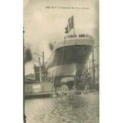 Paquebot. Lancement du FRAISSINET au Port de Bouc 1919