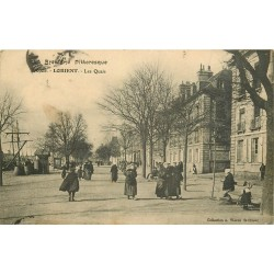 56 LORIENT. Les Quais belle animation tampon Hôpital militaire 1914