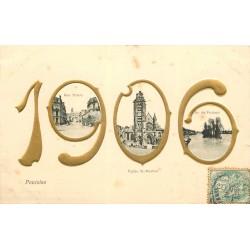 95 PONTOISE. Rue Thiers, Eglise Saint-Maclou et Ile du Pothuis 1906 en relief doré