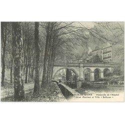 carte postale ancienne 66 AMELIE-LES-BAINS. Passerelle Hôpital Hôtel Martinet et Villa Bellevue
