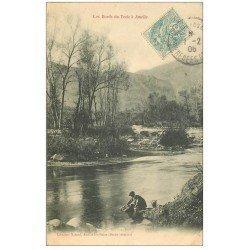 carte postale ancienne 66 AMELIE-LES-BAINS. Pêcheurs à l'affût bords du Tech 1906