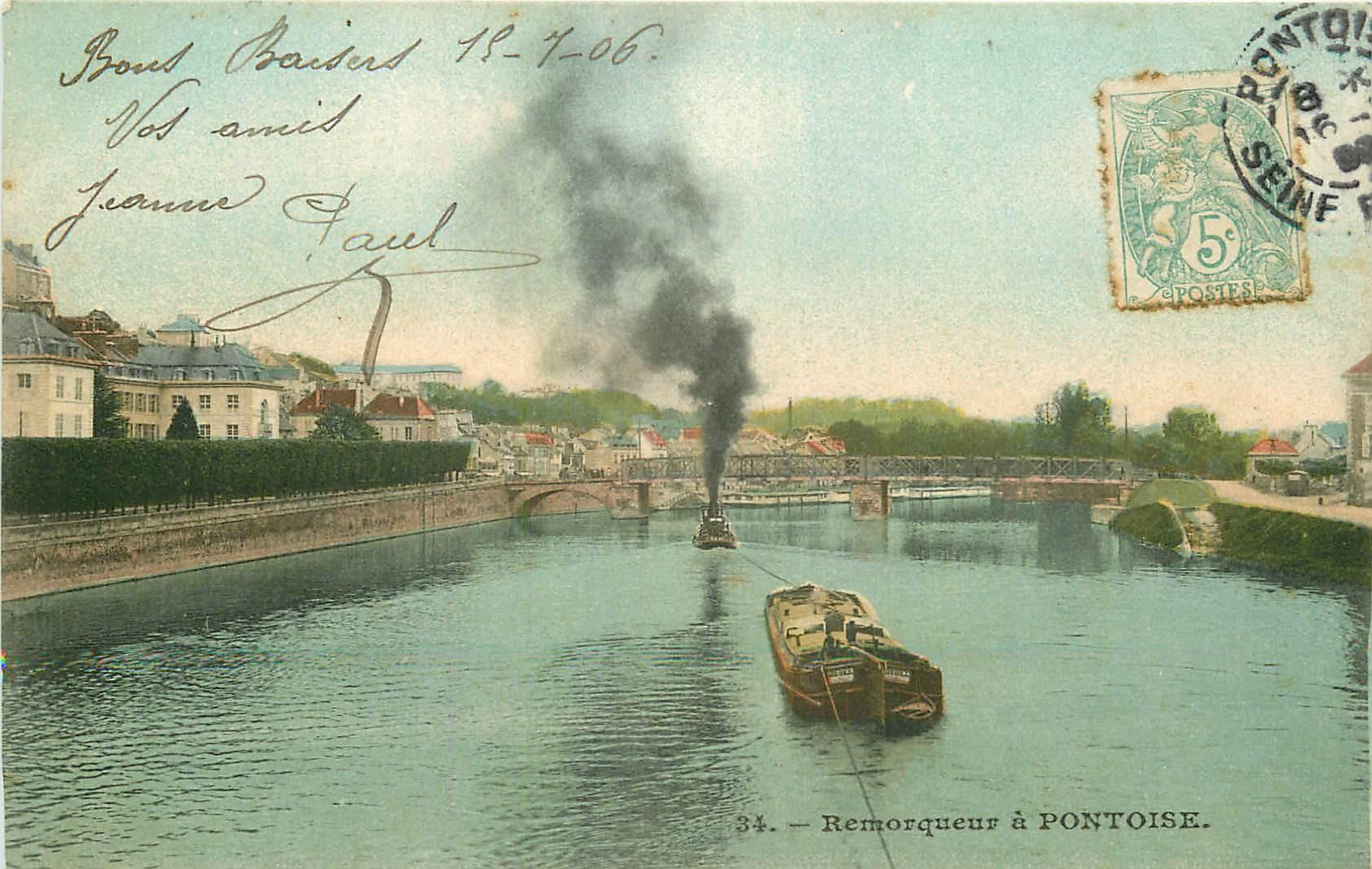 2 x cpa 95 PONTOISE. Un Remorqueur et Péniches près de l'Ile 1906