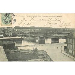 2 x cpa 95 PONTOISE. Pont du Chemin de Fer St-Ouen-l'Aumône et barques au Quai 1906