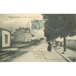 95 VILLIERS-LE-BEL. Route de la Gare 1906 avec Train
