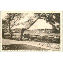 carte postale ancienne 66 BANYULS-SUR-MER. Barques et Voiture ancienne Promenade du Fontaulé
