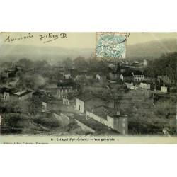 66 ESTAGEL. Vue sur le Village. Carte de luxe laquée vers 1906