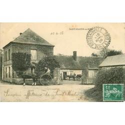 76 SAINT-MARTIN-AU-BOSC. Attelages dans la Cour du Café 1908