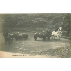 95 GOUSSAINVILLE. L'Abreuvoir avec Chevaux 1916
