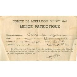 """Feuillet du Comité de la Libération du XIème arrt. """" MILICE PATRIOTIQUE """" ordre de mission à Diot pour Bomel"""