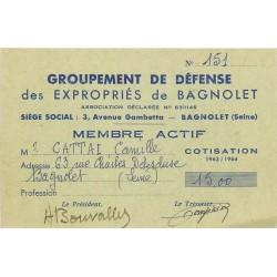 """Carte du groupement de défense des """" EXPROPRIES DE BAGNOLET """" 3 avenue Gambetta en 1963-64 de Cattai rue Delescluse"""