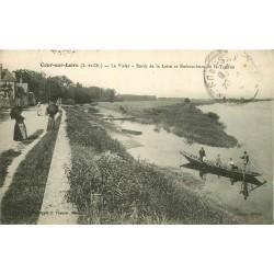 41 COUR-SUR-LOIRE. Le Vivier Passeurs en barque à l'Embouchure de la Tronne 1918