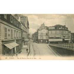 78 POISSY. Commerce de photos rue de Paris et Hôtel Restaurant Place de la Gare 1917