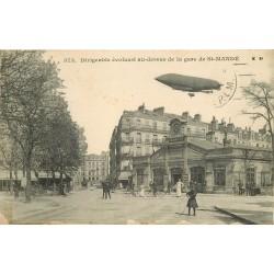94 SAINT-MANDE. Dirigeable militaire au dessus de la Gare 1914