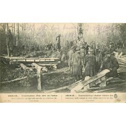 GUERRE. Construction abri où l'Infanterie viendra se reposer après service de Tranchées 1915