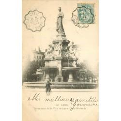 2 x cpa 69 LYON. Monuments Place Morand et Président Carnot 1906
