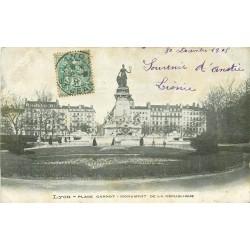 2 x cpa 69 LYON. Monument République Place Carnot et Préfecture du Rhône 1906