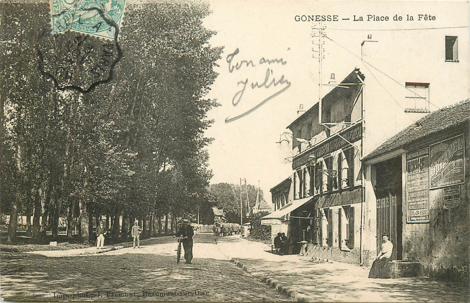 95 GONESSE. Café Auberge Place des Fêtes 1907