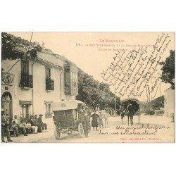 carte postale ancienne 66 LE PERTHUS. Douane Espagnole Route de Barcelone 1928 Attelage, Voiture et Douaniers