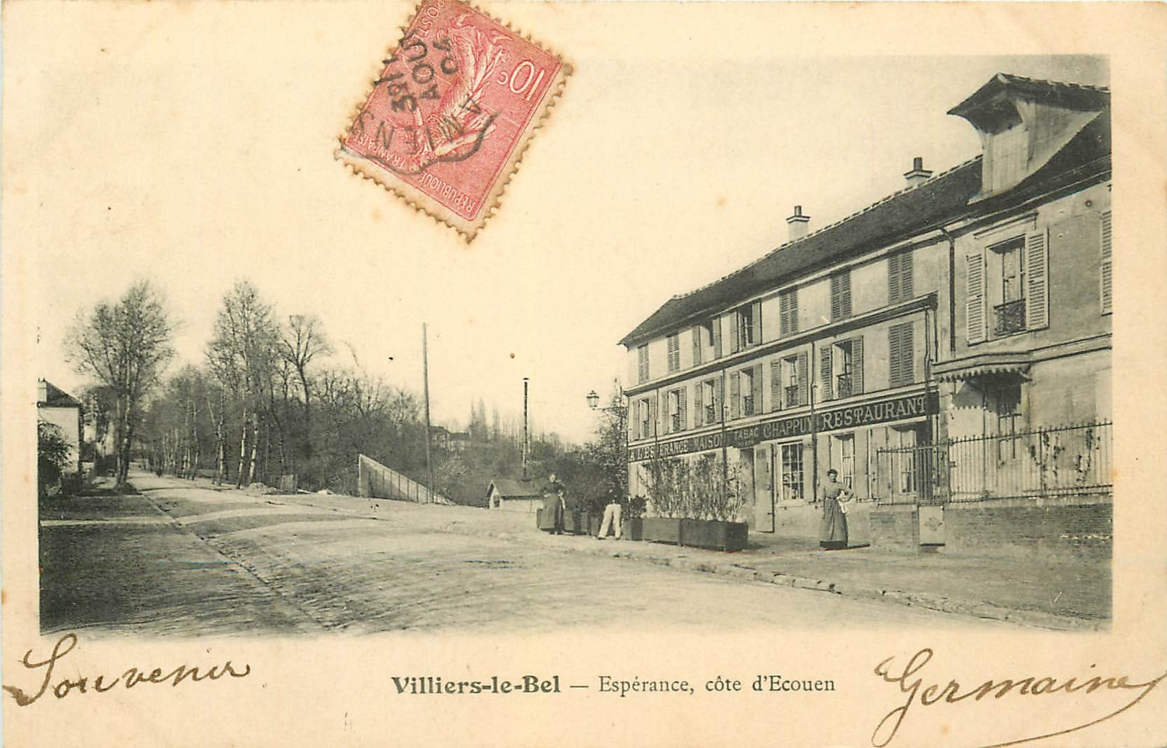 95 VILLIERS-LE-BEL. Café restaurant Chappuy Espérance côté Ecouen