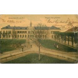 95 GONESSE. Hospice animation 1914 carte toilée colorisée