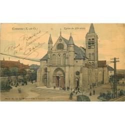95 GONESSE. Eglise du XII siècle 1915 carte toilée colorisée