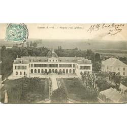 2 x cpa 95 GONESSE. Hospice 1905 et vue d'ensemble de la Ville 1907