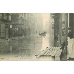75006 PARIS. Sauveteurs rue Saint-André des Arts crue de 1910