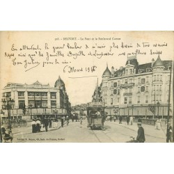 2 x cpa 90 BELFORT. Le Pont boulevard Carnot et le Lion 1917