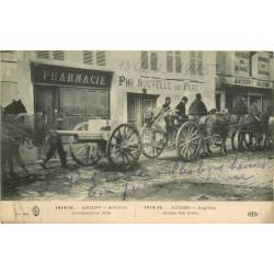 80 AMIENS. Artillerie traversant la Ville en attelage devant une Pharmacie 1915