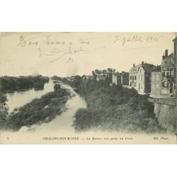 2 x cpa 51 CHALONS-SUR-MARNE. Les rives et la Cathédrale 1916