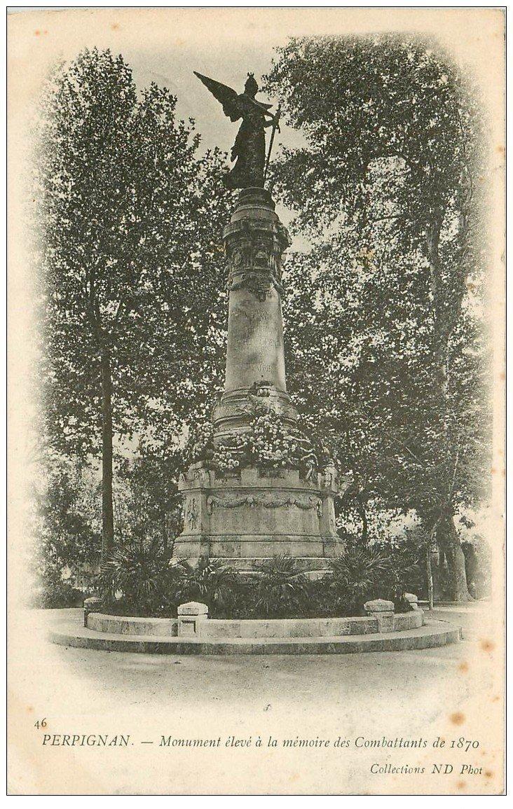 carte postale ancienne 66 PERPIGNAN. 1905 Monument Combatants de 1870