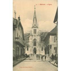 73 ALBERTVILLE. L'Eglise avec enfants devant le Café Leyssieux et la Menuiserie